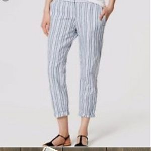 LOFT Size 8 Striped Crop Linen Pants